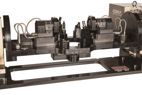 Industry:  Automotive  <br/>Part Type:  Differential Gear Carrier  <br/>Machining Center:  VMC – 1,530mm x 660mm Table Size <br/> This OP10 fixture uses three custom chucks to locate on the core of the casting.