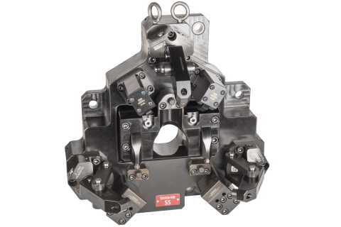 Industry:  Automotive  <br/>Part Type:  Engine Flywheel  <br/>Machining Center:  HMC – 500mm Pallet Size <br/> This modular OP10 nest fits onto a reciever t-stone. Hydraulic circuits connect via auto-coupler so no oil is lost during changeover.