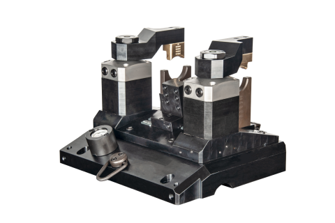 Industry:  Automotive  <br/>Part Type:  Differential Case  <br/>Machining Center:  Repurposed Lathe  <br/>This fixture mounted to a frame PDQ installed in a repurposed lathe.