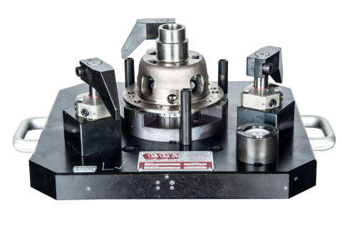 Industry:  Automotive <br/> Part Type:  Differential Case  <br/>Machining Center:  5-Axis – ø400mm Pallet  <br/>The base plate of this fixture was made out of aluminum so it could be pulled from the machine for changeover.